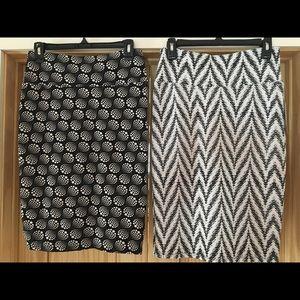 2 LulaRoe Cassie Pencil Skirt Noir & Blanc NEW